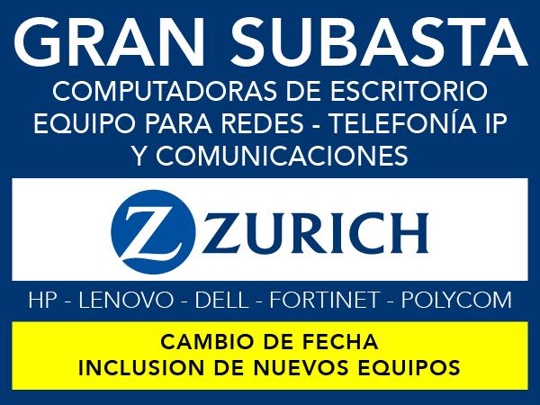 Subasta Zurich Equipo de TI - Próximamente